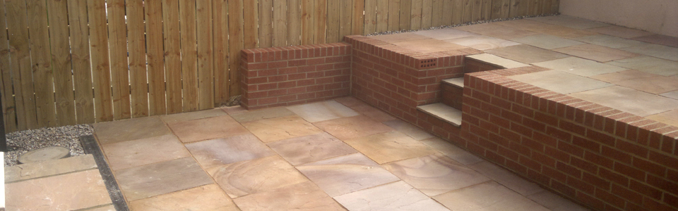 indian sandstone wall fence and steps